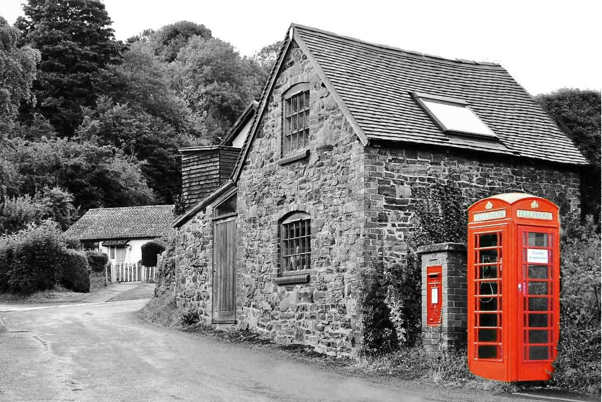 Telefónna búdka na vidieku